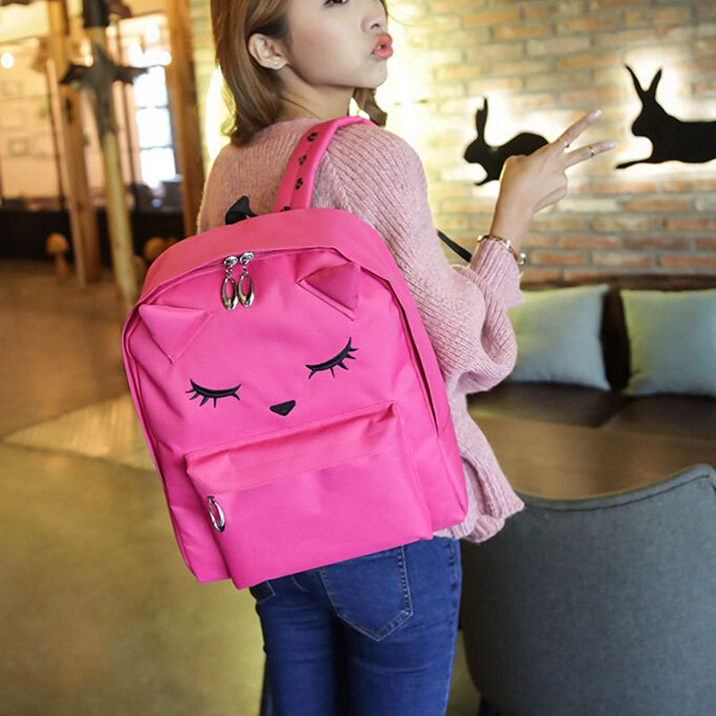 font b Top b font Cute Cartoon Embroidery Cat Printing Backpack Canvas Nylon Backpacks For