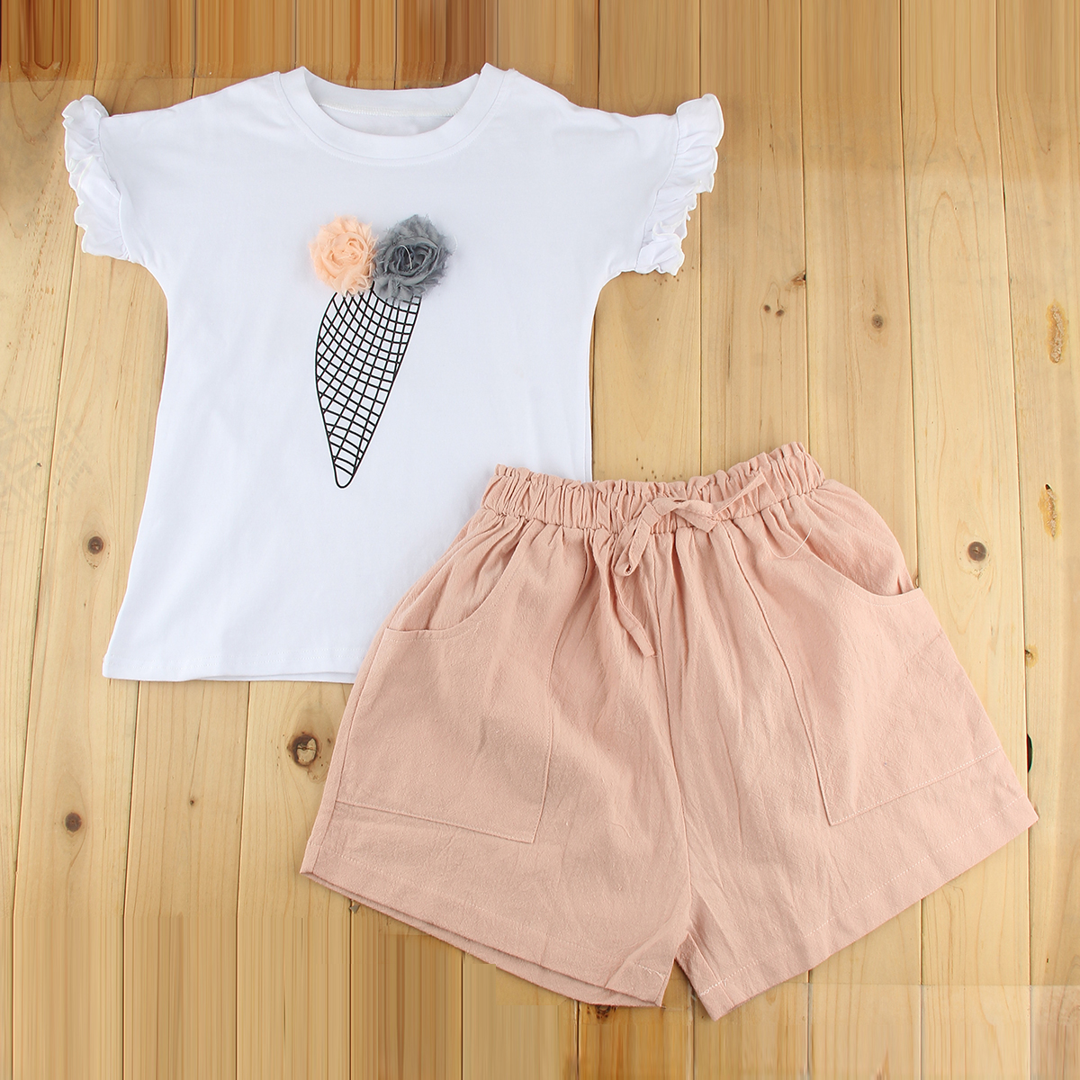 Baby Girls Toddler Kids Outfits T Shirt Ice Cream Pattern Short Sleeve Tops Shorts Pants 2PCS Summer Clothes Set Children Suit