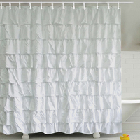 White Square Thick Shower Curtain With Hooks Waterproof Mildew Resistant Bath Curtain Durable Bathroom Curtains