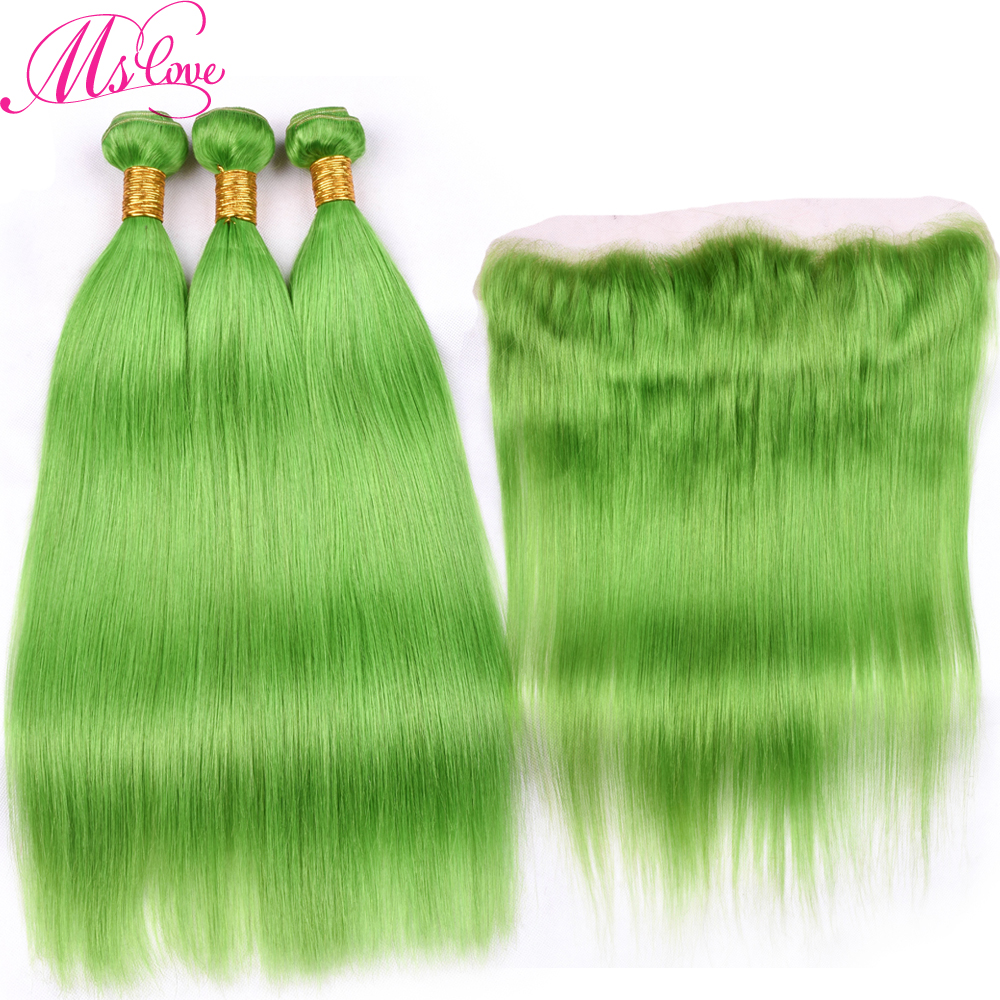 Ms Love Light Green Hair Bundles With Lace Frontal Closure 100% Remy Human Hair Bundles With Frontal Brazilian Hair Straight