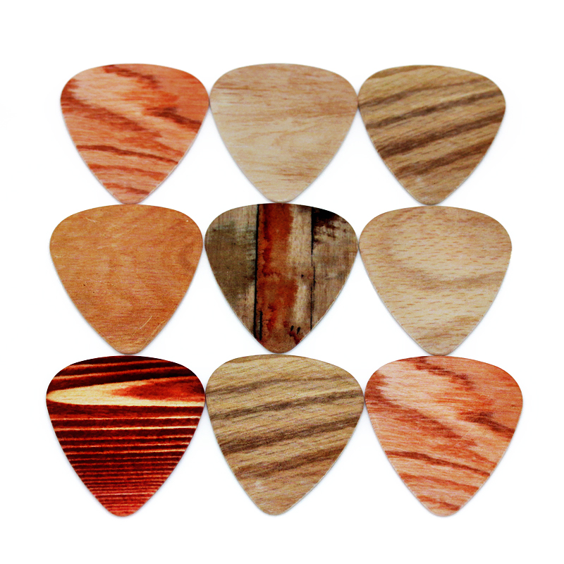 SOACH 50pcs/Lot 0.46/0.71/1.0mm Bass Guitar Pick Nstrument Accessories Guitarra/ Acoustic Guitar/ukulele Parts Wood Grain Style