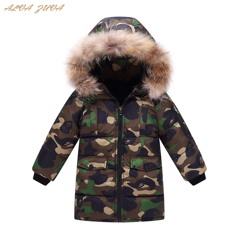 Children Winter Down Cotton-Padded Jacket Kids Thick Warm Fur Collar Hooded Parkas Coat For Boys Girls 3-12 Years Clothes Cyy261 kids long parkas for girls fur hooded coat winter warm down jacket children outerwear infants thick overcoat