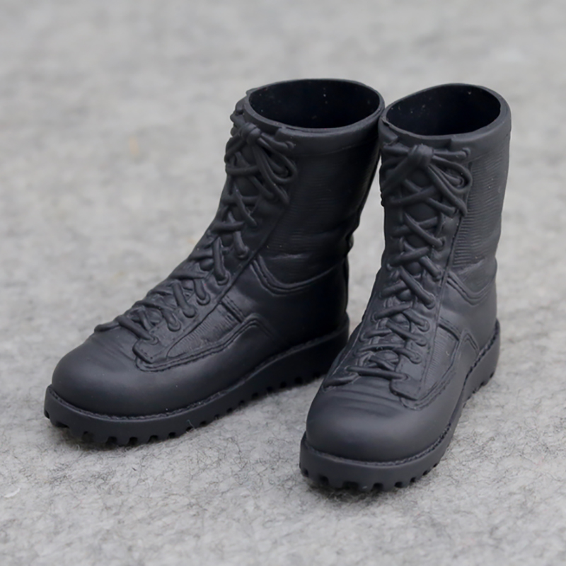 """1//6 Black Leather Military Combat Boots Inner Hollow Shoe F 12/"""" Male Figure Body"""