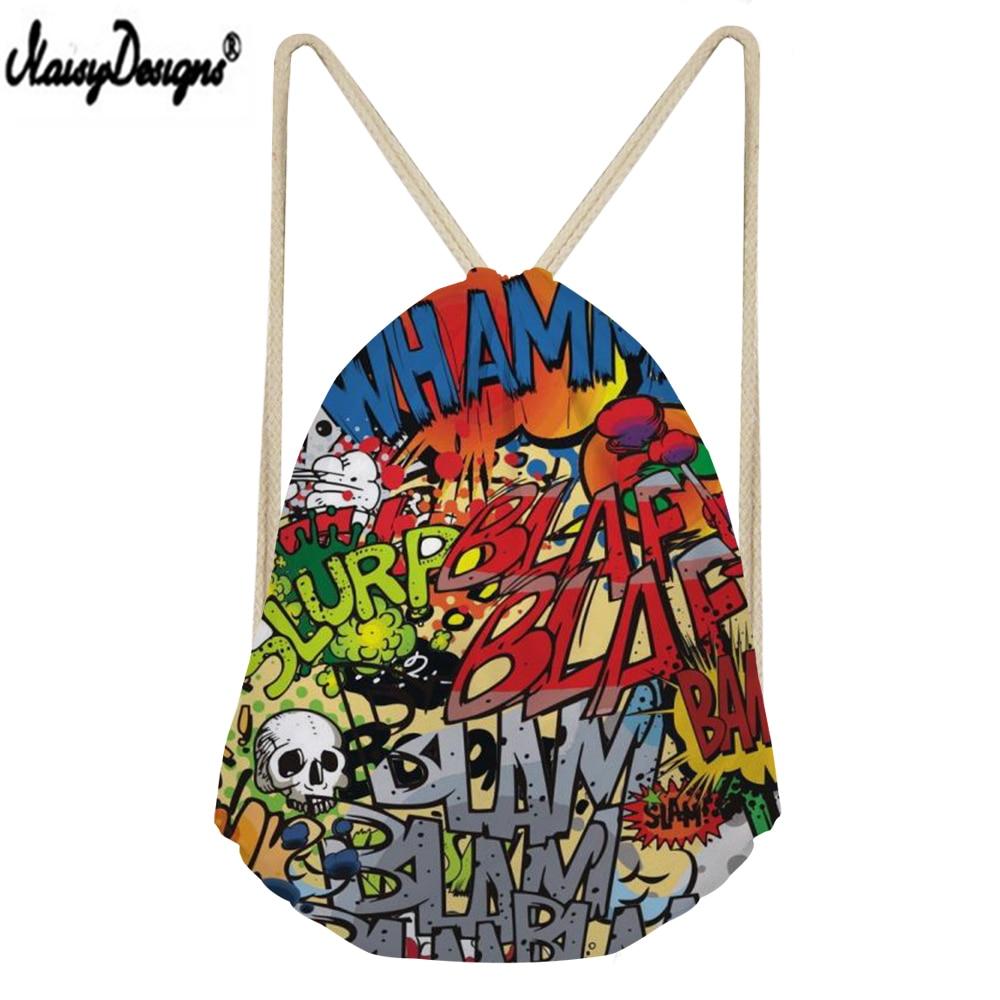 NOISYDESIGNS Kids Linen Storage Bags 2019 Hip Hop Graffiti Printed Drawstring Sack Women Small Shopping Mochilas 3D Customzied