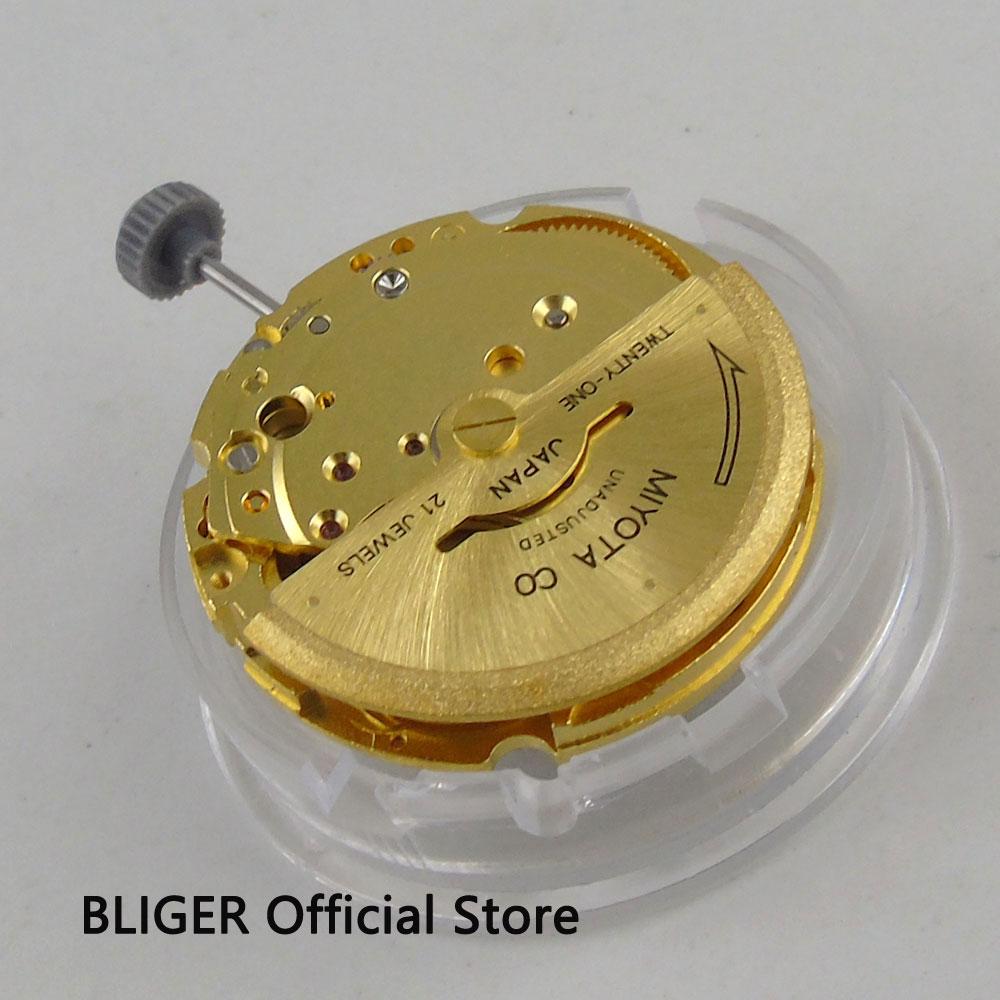 цена Luxury 21 Jewels Date Display Golden MIYOTA 8200 Automatic Movement fit Automatic Movement Men's Watch M1 онлайн в 2017 году