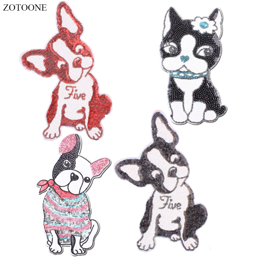 ZOTOONE Sequin Patches Cute Colorful Dog Iron on for For Girl Clothing Embroidery Animal Patch Applique Badge Sticker E