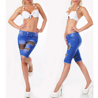 Mode Laagbouw Jeans Knielengte Shorts Vrouwen Visnet Broek Vrouw Sexy Skinny Ripped Jeans Met Gaten Zomer 2018
