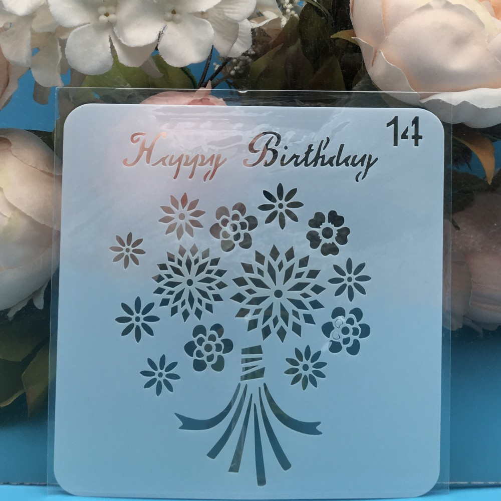 15cm Happy Birthday Flower DIY Layering Stencils Wall Painting Scrapbook Coloring Embossing Album Decorative Card Template