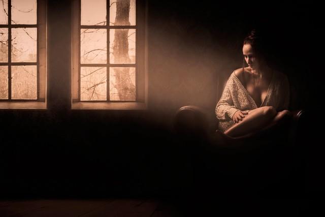 Diy Frame Lighting Girl Sadness Room Mood Sad Alone Lonely