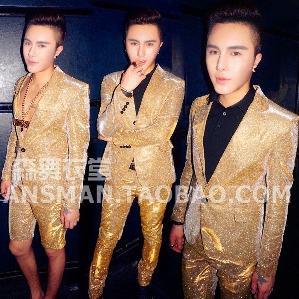 7e7567aa4c2 새로운 패션 남성 DJ 가수 슈퍼 황금 그라데이션 플래시 분말 정장 의상 무대 성능 정장