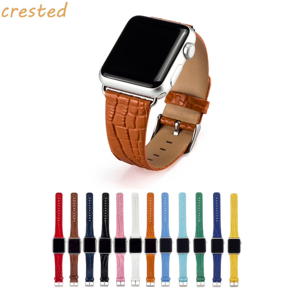 купить CRESTED crocodile Genuine leather strap for apple watch 42mm/38 with metal bracelet watch band for iwatch 1/2/3 replacement belt по цене 678.52 рублей