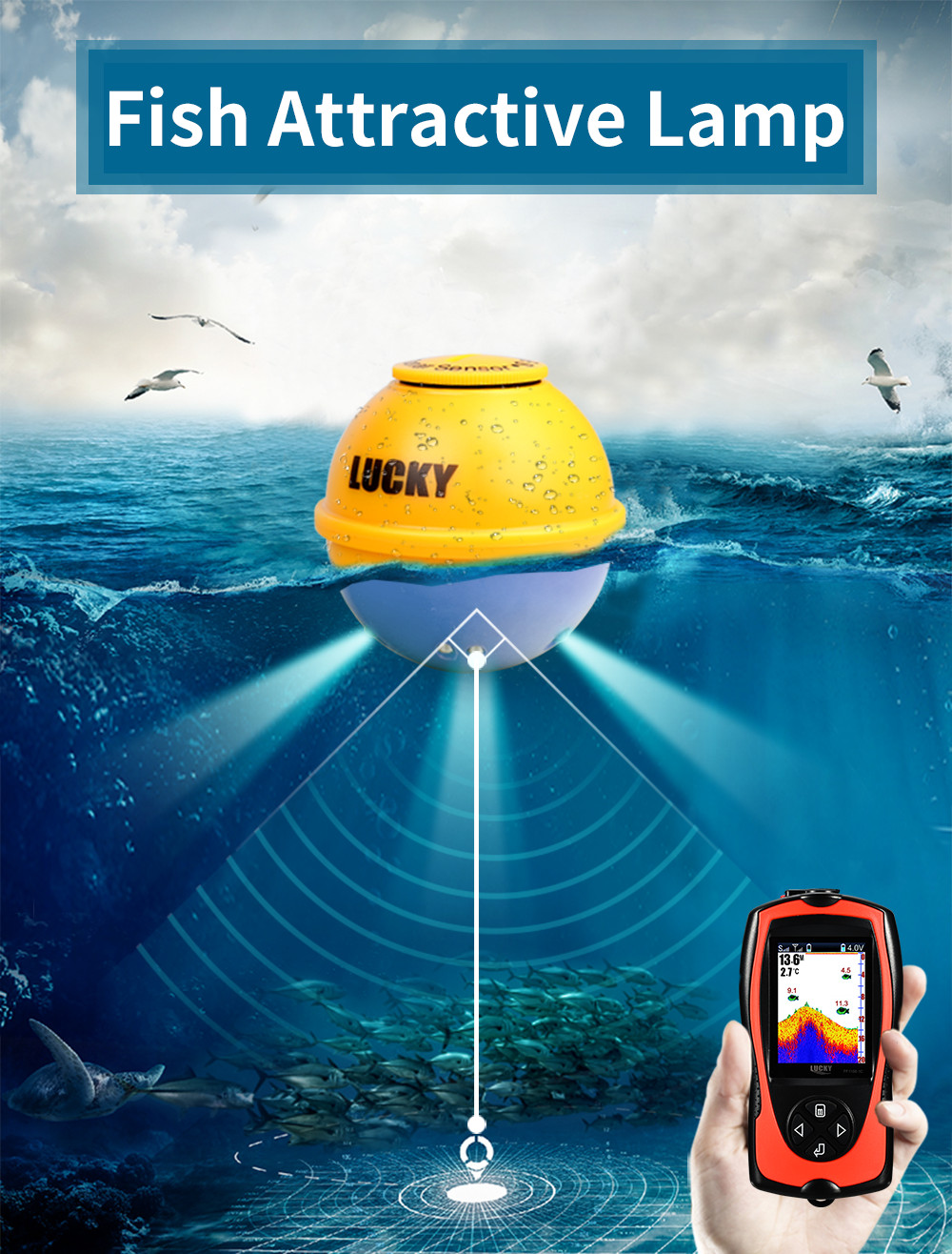 fishfinder 147ft 45m profundidade de água sonar