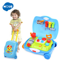 HOLA 3106 Multifunctional Suitcase Kids learn Hammer hit toy set Lights With Adjustable Sound Educational Music Toys For boys(China)
