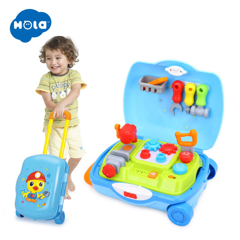 HOLA 3106 Multifunctional Suitcase Kids learn Hammer hit toy set Lights With Adjustable Sound Educational Music Toys For boys