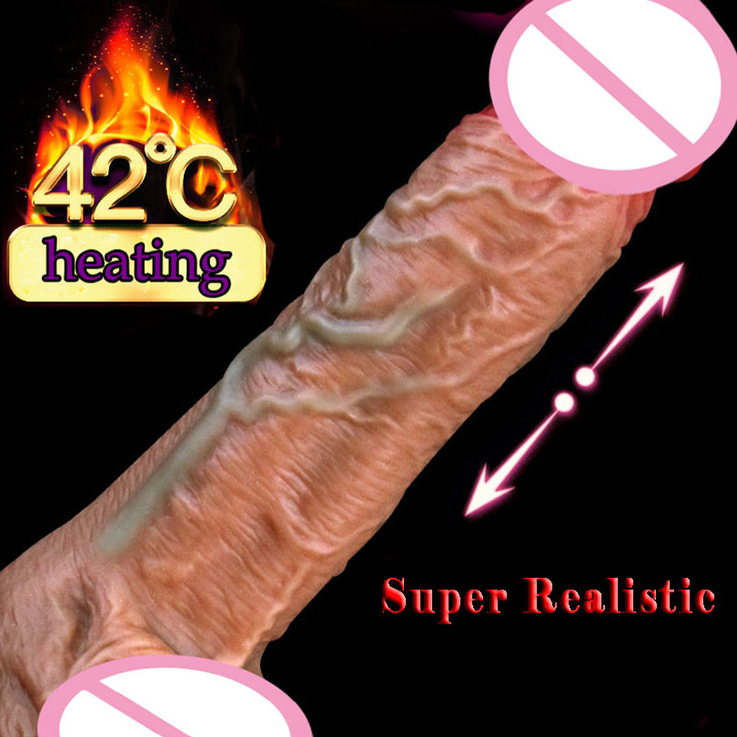 Telescopic Heating Dildo Vibrator Super Realistic Dildo Suction Cup Dildo Penis Huge Dick USB Charging Dildos For Women Sex Toys
