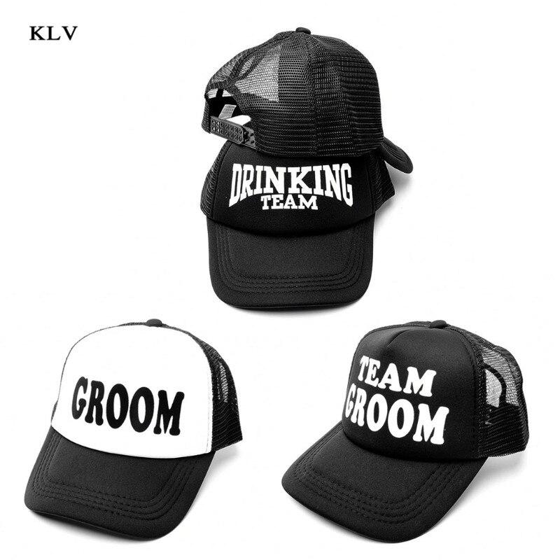 Groom Drinking Team Print Trucker Hat Men Hip-Hop Snapback Adjustable   Baseball   Mesh   Cap   Wedding Party Club Props Gift