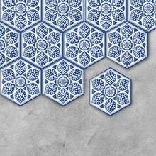Сине-белая фарфоровая напольная наклейка, противоскользящая самоклеящаяся водостойкая плитка, наклейка s Art, украшение мебели для кухни, ванной комнаты