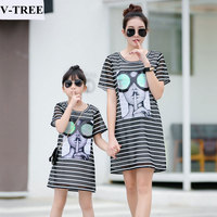 V TREE Mother Daughter Dresses Summer Mom And Daughter Dress Striped Family Family Look Dress Girls