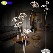 FUMAT Modern Floor Lamp Bedroom Indoor Crystal Floor Lamp LED Flower Floor Lamp Stand Lamp Light Chrome finished Living Room