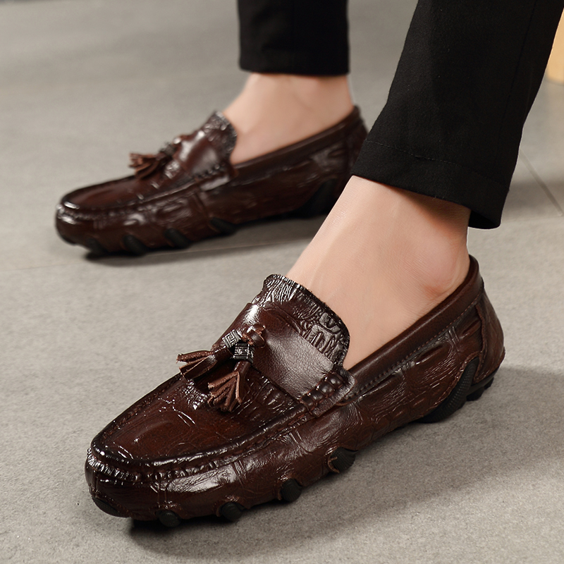 2019 new fashion men 39 s shoes casual leather loafers male red brown amp black slip on shoe man big size print driving shoes for men in Men 39 s Casual Shoes from Shoes