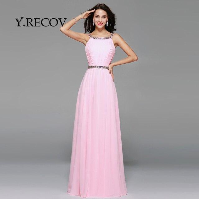 Elegante Vestido Largo YD2388 A line Scoop Rebordear Rosa Bebé ...