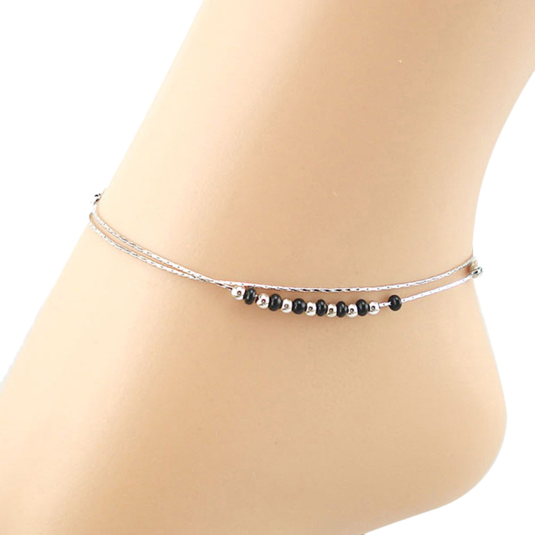 Women Silver Plated Anklet Chain Bracelet Barefoot Sandal Beach Foot Jewelry Zn