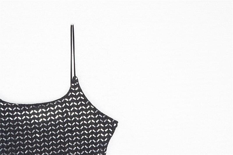 Forefair Summer Mini Sequin Dress Clubwear Party Black Off Shoulder (6)