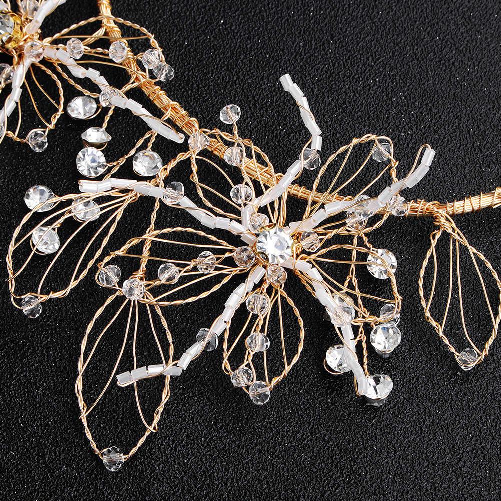 Свадебные творческие Головные уборы невесты Хрустальная корона розовое золото волос Свадебные украшения для головы цветочный Элегантные волосы заколка с украшениями