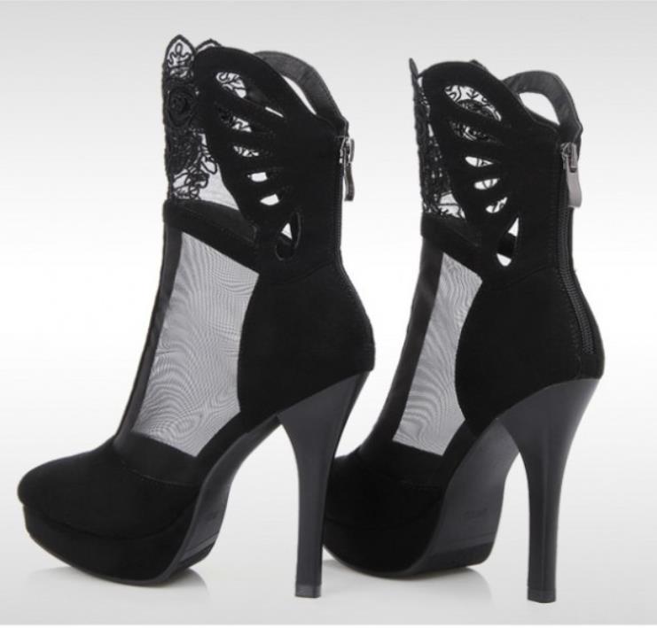 Noir De forme Et Chaussures Avec Nouveau Femmes En Été Maillage Printemps Talons Papillon Étanche Romaines Hauts Plate Forme wATq4wp
