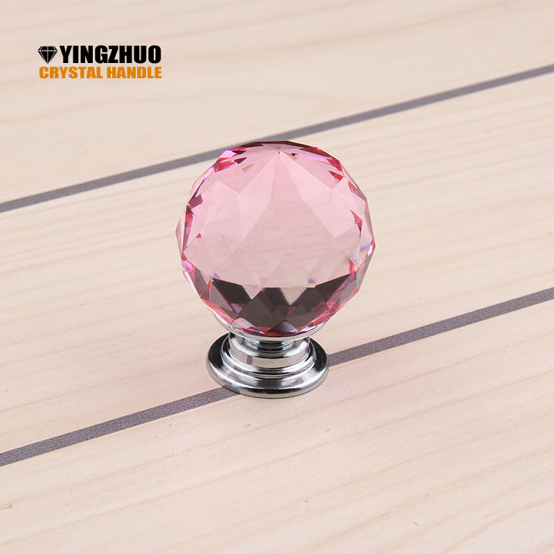 10pcs 30mm Pink Crsytal Pull Cabinet Knobs and Handles Furniture Furniture Hardware Drawer Dresser Box Case Hand Grip Door knob css clear crystal glass cabinet drawer door knobs handles 30mm