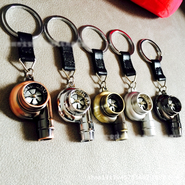 Real Whistle Sound Turbo Keychain Sleeve Bearing Spinning Auto Part Model Turbine Turbocharger Key Chain Ring Keyfob Keyring 2#