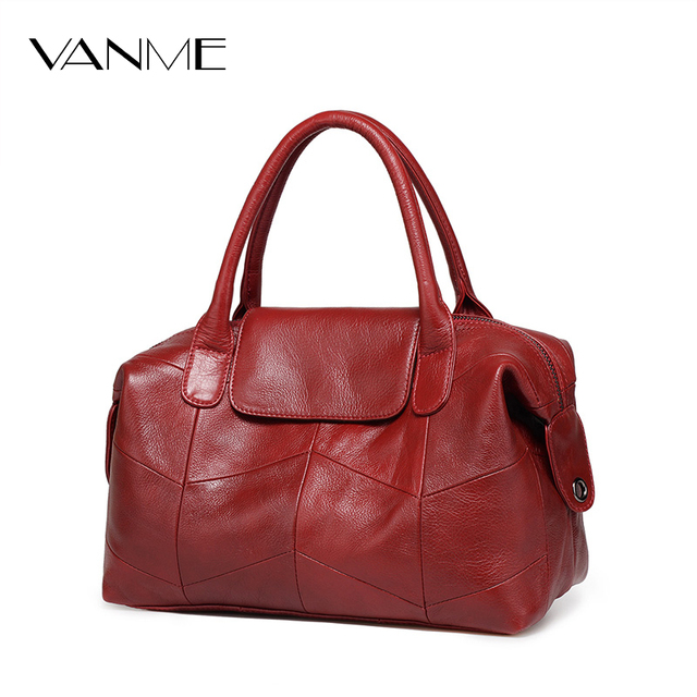 2017 New Women Genuine Leather Boston Bag Europe Style Simple Handbag Fashion Trend Shoulder Bag office lady Tote handbag