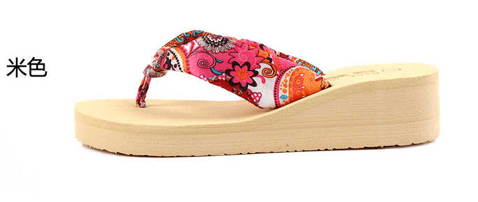 abdf8ffa83726e ... Summer bohemia flower Women flip flops platform wedges Women s sandals  platform flip slippers beach shoes ...