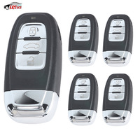 KEYECU 5 Pcs/lot New Replacement Upgraded Smart Remote Car Key Shell Case Fob 3 Button for Audi A6L Q7 & Keyless go Flip Model