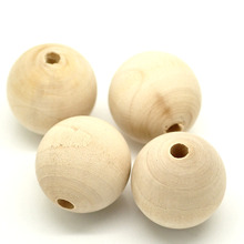 DoreenBeads 20PCs Natural Ball Wood Spacer Beads 30mm(1-1/8