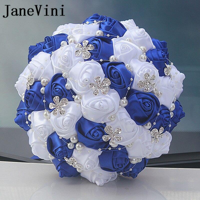 JaneVini Elegant Royal Blue Satin Rose Wedding Bouquets Artificial Flower Rhinestone Crystal Bridal Bouquets Wedding Accessories