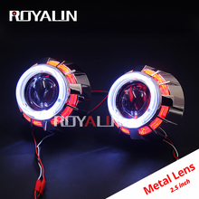 ROYALIN LED DRL Double Angel Eyes Halo Rings Mini Projector Lens Bi Xenon H1 Headlight Shrouds White Red H4 H7 Auto Lamps DIY royalin car styling motorcycle projector light lens hid bi xenon h1 with ccfl double diode rings angel eyes white red blue h4 h7