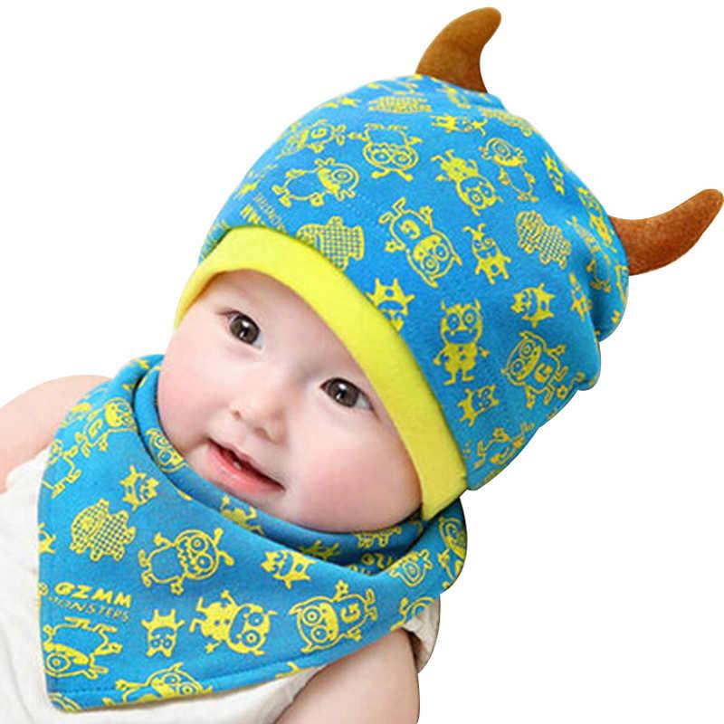 b602c6dd4 Baby Beanie Cap Bandana Bib Set for 3 to 24 Months Boy Girl Kids Toddler  Knit Caps Monsters Design Head Scarf Hat