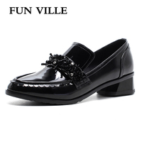 FUN VILLE 2018 Spring New Fashion Women Flats Shoes British Style Oxford Shoes Genuine Leather Low
