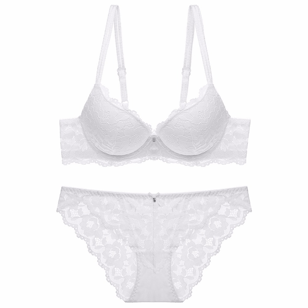 fashion lace sexy thin deep V-neck push up bra underwear hot-selling vintage solid color bra set 2018 3/4 Cup 70,75,80,85AB