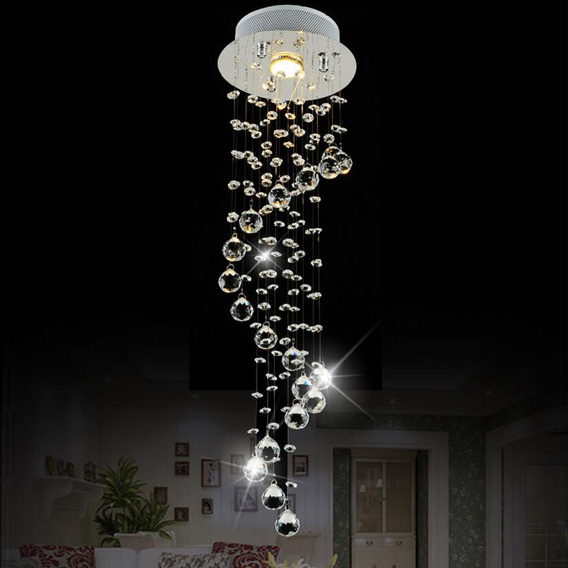 modern small spiral staircase lights crystal chandelier LED ...