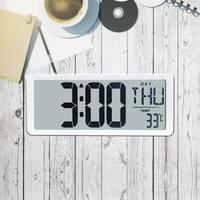 TXL Extra Large Vision Digital Wall Clock Jumbo Alarm Clock 13.8 LCD Display Alarm Calendar Indoor Temperature Office Decor