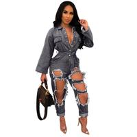 Vintage Scrub Washed Hole Burr Jumpsuit Women Sexy Long Sleeve Lace Up Bandage Button Overalls For Women Elegant Slim Rompers