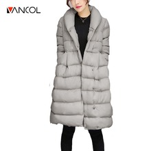 Vancol 2016 Plus Size Fashion A Line Style Female Long Parka With Sashes Grey Winter Coat Women Black Padded Cotton Down Coat