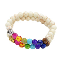 8mm White And Black Lava Beads 7 Chakra Healing Balance Buddha Bracelet Yoga