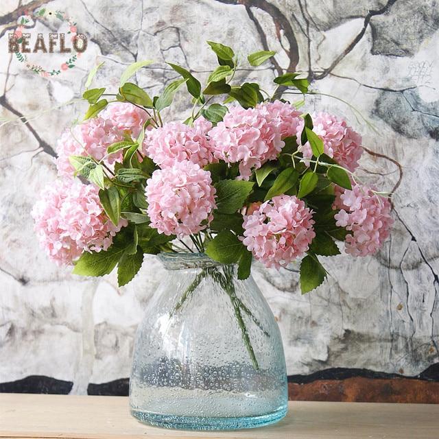 1 Pc Flores Artificiales 7 Cabezas Bola De Nieve Flor De Hortensia
