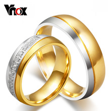 10pcs/lots Wholesale CZ Gold Plated Wedding Rings For Love Stainless Steel Metal Provide Mix Size