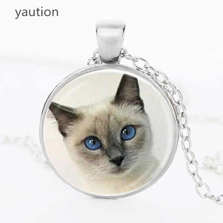 Vintage cat pendant necklace cat eye round glass animal necklaces charms 2017 necklaces Choker jewelry girl gift