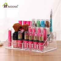 HAKOONA Table Transparent Mult Lattice Acrylic Cosmetics Makeup Storage Box Lipstick Nail Polish Tool Finishing Box Organize