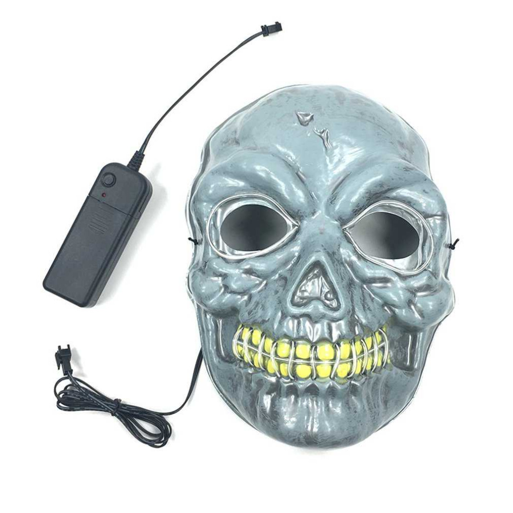 Cosplay Skull Mask with EL Cool Light Scary Mask Horrible Skeleton ...